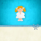 My First Communion reminder blonde girl praying. My First Holy Communion invitation card, blonde girl praying  on blue background with blank space for Stock Photos