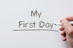 My first day written on whiteboard Stock Photo