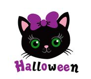 My first Halloween. Lovely kitten with a purple bow. Royalty Free Stock Photography