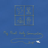 My first holy communion blue background. My first holy communion , children religious symbols in blue background Stock Photography