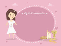 My first holy communion. Vector. Invitation card My first communion. Girl holding a wooden cross. Bread, candles, wheat and calyx. Image in vector format Royalty Free Stock Images