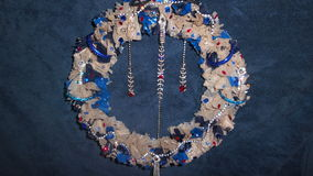 My first plastic bag wreath. Royalty Free Stock Photos