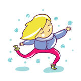 My First Snow. Cute children illustration Royalty Free Stock Images