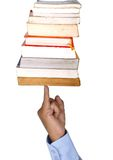 My first study. Set of books on the finger Stock Photos