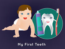 My First Teeth. My first tooth concept. Editable vector illustration with cute crawling baby and tooth character holding toothbrush and toothpaste. Medical Stock Photo