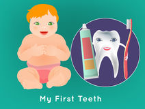 My First Teeth. My first tooth concept. Editable vector illustration with cute sitting baby and tooth character holding toothbrush and toothpaste. Medical poster Royalty Free Stock Image