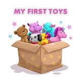 My first toy. Funny textile animal toys in the box. Plush pets collection, vector illustration stock illustration