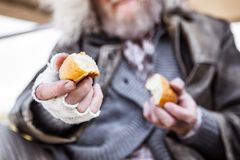 Selective focus of bread pieces royalty free stock photography