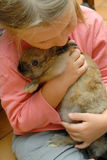 My friend. Photography of a young girl holding a small rabbit Royalty Free Stock Image