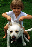 My friend. Four year old girl with labrador retriever Royalty Free Stock Images
