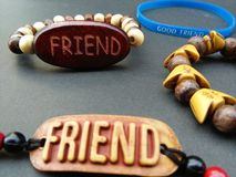 My friend gave me the best friendship band on Friendship Day. Royalty Free Stock Photography