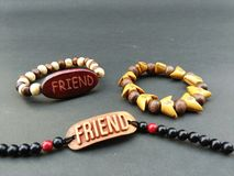 My friend gave me the best friendship band on Friendship Day. Royalty Free Stock Images