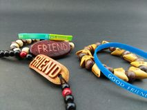 My friend gave me the best friendship band on Friendship Day. Stock Images