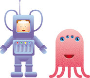 My friend next door. Childlike spaceman with a friendly alien royalty free illustration