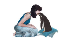 My friend Penguin. Kiss between a woman and a penguin Royalty Free Stock Photos