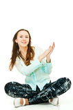 My fun. Happy beautiful girl clapping her hands on white royalty free stock photos