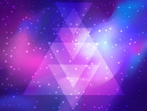 My Galaxy. Vector bright colorful cosmos illustration with sacre. D geometry. Abstract cosmic background with stars. Astronomy, astrology, alchemy, boho and Stock Images
