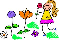 My garden. Little girl picking flowers in the garden - toddler art style