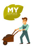 My garden vector collection. Man with garden wheelbarrow. My garden vector collection sign on big leaf. Cartoon male character in dark blue overalls smiles and Royalty Free Stock Photos
