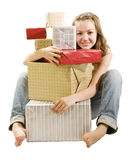 My gifts. Pretty girl and pile of gifts Royalty Free Stock Photo