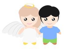 My girlfriend is angel Stock Photo