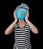 My globe. Girl with earth in her hands instead her head Stock Images
