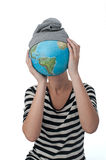 My globe. Girl with earth in her hands instead her head Royalty Free Stock Image