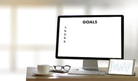 MY GOALS Handwriting of  motivational memo written Target Succes. S Aspiration Royalty Free Stock Images
