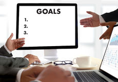 MY GOALS Handwriting of  motivational memo written Target Succes. S Aspiration Royalty Free Stock Image