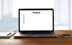 MY GOALS Handwriting of  motivational memo written Target Succes. S Aspiration Royalty Free Stock Photos