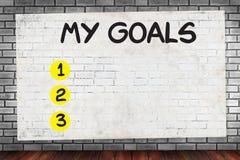 MY GOALS  Handwriting of My Goals Stock Photo