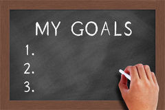 My goals list on Blackboard Royalty Free Stock Photos