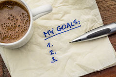 My goals list on napkin Stock Images