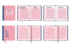 My Goals plan New Year 2019. Flat notebook cover closed and open with list. Vector isolates on white background. My Goals PLAN New Year 2019. Flat notebook book stock illustration