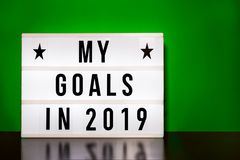 My goals 2019 sign - cinema style lettering on light box. Block colour vector illustration