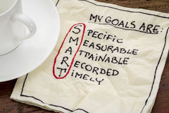 My goals are smart. Goal setting concept - handwritten text on a napkin with coffee royalty free stock photos
