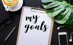 My goals text with writing on notepaper and accessories Royalty Free Stock Photography