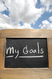 My goals on vintage slate blackboard Royalty Free Stock Images