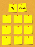 My Goals Yellow Sticky Notes on Bulletin Board Stock Photography