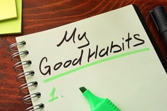 My good habits written on a notepad. Royalty Free Stock Image
