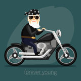 My grandfather forever young biker Royalty Free Stock Image