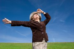 My Grandma Freedom and joy. On big meadow U can fell totally free stock image