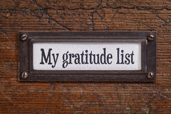 My gratitude list - file cabinet label Stock Image