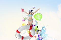 My great summer vacation . Mixed media Royalty Free Stock Photo