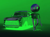 My green car. Green illumination of the character and its car Stock Photos