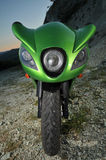 My green sport motorcycle Stock Image