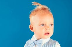 My hair speaks for itself. Healthy haircare tips for kids. Little child with messy top haircut. Little child with short. Haircut. Boy child with stylish blond royalty free stock photography