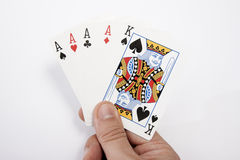 My hand with playing card. Hand with playing card poker Royalty Free Stock Photography