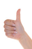 My hands and nails are very good. Female hand with nice french manicure shows sigh good Royalty Free Stock Photos