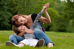 My happy mom and me royalty free stock photography